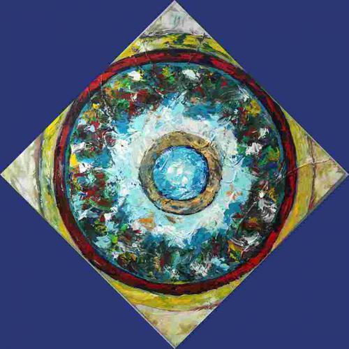 spiritueela 100 bij 100 cm acrylverfa