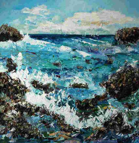 zeezicht 1 100 bij 100 cm acrylverfa