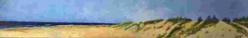zeezicht 180 bij 30 cm olieverfa