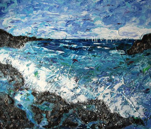 zeezicht 3 120 bij 100 cm acrylverfa
